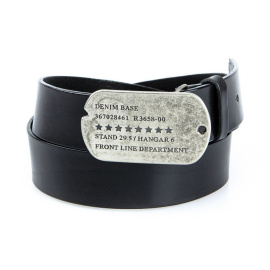 Men's black leather belt HX0021