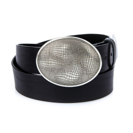 Men's black leather belt HX0030