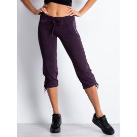 Ciemnofioletowe spodnie damskie dresowe capri z boczną kieszonką