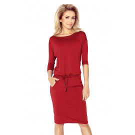 Dámské šaty s 3/4 rukávy Numoco 13-66 - červená