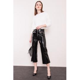 BSL Czarne spodnie z lakierowanej ekoskóry