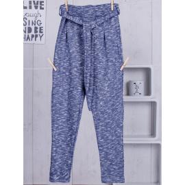 Spodnie dresowe dla dziewczynki niebieskie z paskiem