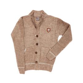 Sweter dla chłopca brązowy z kieszeniami