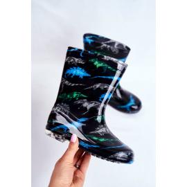 Children's Rubber Galoshes boots Black Dinosaur
