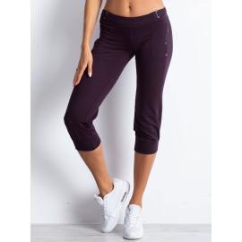 Ciemnofioletowe spodnie damskie dresowe capri z materiałowym paskiem